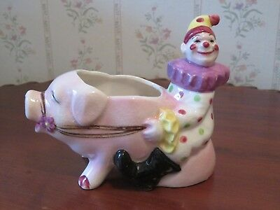 Vintage Planter Holder Vase Circus Clown Riding a Pig Green Mark JAPAN