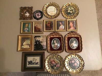 Vintage Antique Picture Frames Lot of 16 Ornate, Silk, Metal, Convex, Glass 9.99