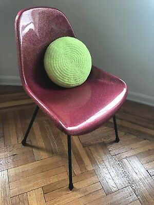 molded fiberglass Chair Vintage glitter Red mid century industrial modernica