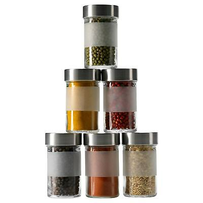 New IKEA: 4x Spice Jar Herb Storage Frosted Glass Bottle Stainless Kitchen Salt