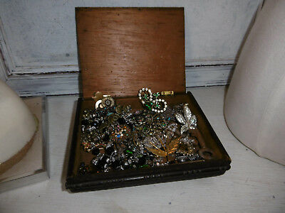 Old wooden cigar box and contents vintage jewellery keys for spares repair craft