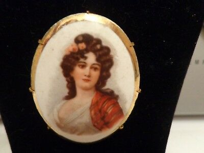 Large Antique Vintage Victorian Hand painted Lady On Porcelain Brooch Pin