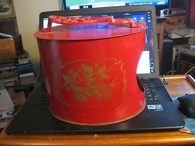 Antique Oval Metal Shoe Shine Stand & Box w Stenciled Rose Red
