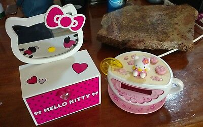 Hello Kitty Cup& Saucer Alarm Clock Am/fm Radio/ Jewelry Box