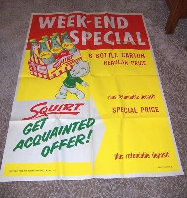 1958 Squirt Soda Dealer Display Large Size NOS Poster 42 x 59 Inches!