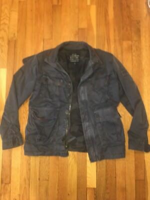 LUCKY BRAND Black Label Gray Jacket with Brown Leather Trim Sz M