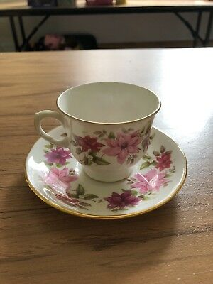 Queen Anne Tea Cup and Saucer Floral Theme Bone China England Set
