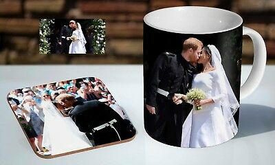 Royal Wedding Prince Harry And Meghan Kiss Tea / Coffee Mug Coaster Gift Set