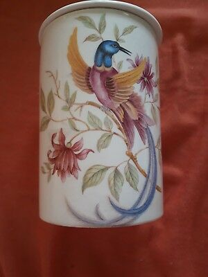 Crown Devon lidded pot. Birds of Paradise pattern.