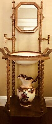 Antique Wash Basin Stand with Mirror, Pitcher and Basin