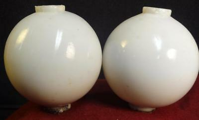 Pair Antique Well Used Milk Glass Balls or Globes for Lightening Rods