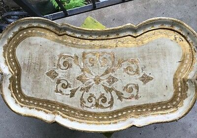 "Vintage ""Rare"" Italian Florentine Gilt Gold Leaf Wooden Bed Tray Foldable Legs"