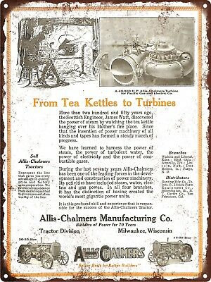 "1924 ALLIS-CHALMERS 20-35 & 15-25 TRACTOR Turbines Metal Sign Repro 9x12"" 60534"