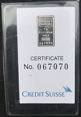 Credit Suisse 1 Gram .9995 Platinum Liberty Bullion Bar