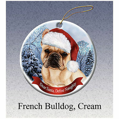 French Bulldog Cream Howliday Porcelain China Dog Christmas Ornament