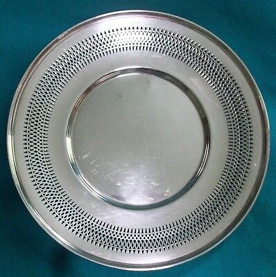 Vintage Reticulated Sterling Silver Presentation Plate By Tuttle Company Boston