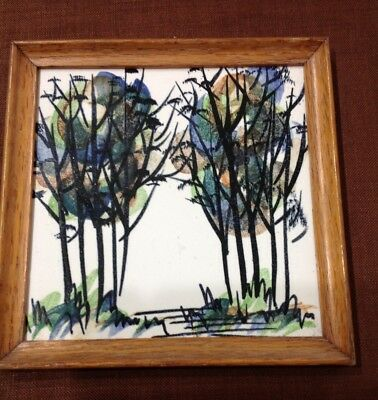 Harris G Strong Hand Painted Ceramic Tile W/original Frame Label Trees In Forest