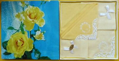 2 Vintage Irish Cotton Yellow Lace Trimmed Hankies In Box With Yellow Roses