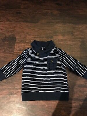 Baby Gap Boys Navy And White Striped Sweater/shirt, Size 3T