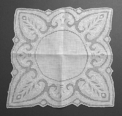 Vtg Swiss Appenzell Embroidery Linen Hanky - Wedding Fine - Detailed Pulled Work