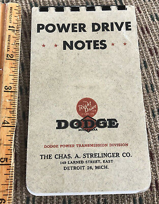 NOS New Vintage Dodge Power Drive Notebook Detroit WWII 1940s War Bonds Mishawak
