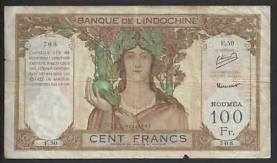 """CIR"" 1937-67 New Caledonia 100 Francs ""F.50 708"" (Large Size)"