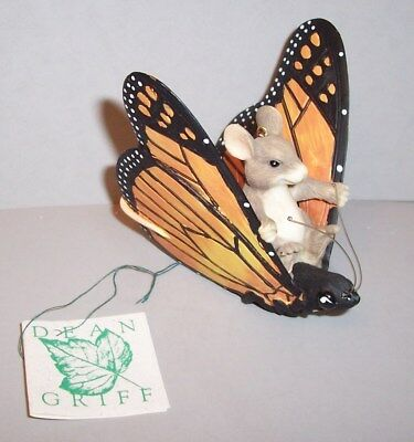 "Vintage CHARMING TAILS by DEAN GRIFF Ornament ""Butterfly Ride"" New in Box"