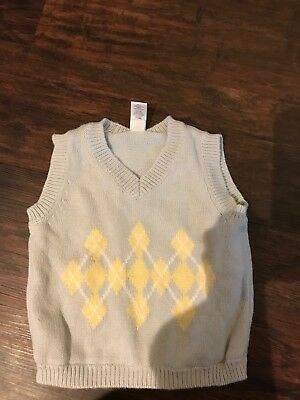 Baby Gap Boys Light Blue And Yellow Sweater Vest, Size 3-6 Months