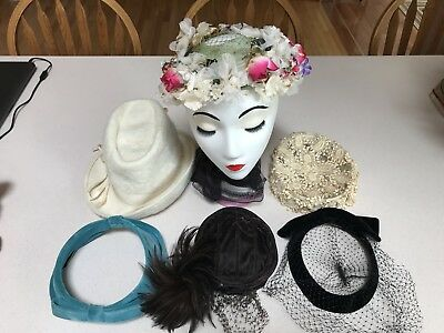 Vintage Lot Of Ladies Hats Straw Floral Feathers Netting Union Made