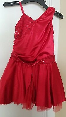 Revolution Dance Costume size LC Red Sequins with Hair Bow- Christmas