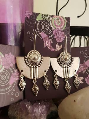 Antique Silver Peruvian inspired tribal earrings