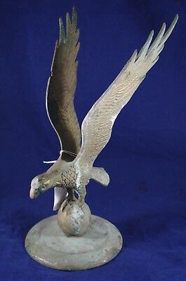 VTG Eagle Brass Decorative Art Large Paperweight Architectural Topper Patina