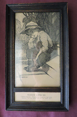"""Antique V. C. Anderson """"Nobody Loves Me"""" eat worms Arts and Crafts framed print"""