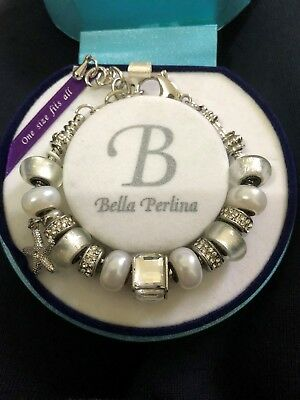 Bella Perlina Charm bracelet One size fits all with Box Silver