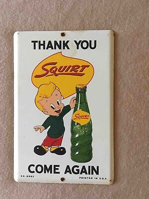 Old Squirt Soda Thanks You Come Again Tin Advertising Door Push Plate Sign