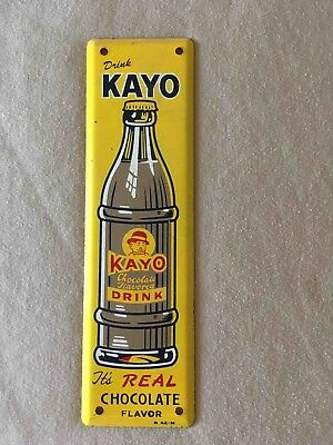 Old Kayo Chocolate Flavor Drink Tall Painted Advertising Door Push Plate Sign