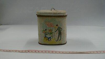 Vintage Retro Tin String Dispenser Hinged Lid Street Scene
