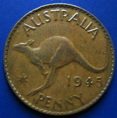 1945 Australia One Large Penny Low Mintage King George 1 Cent Value Coin Lot G2