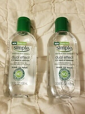 Eye Make-Up Remover Simple Dual Effect 3.38 fl oz - NEW - Lot of 2 Bottles