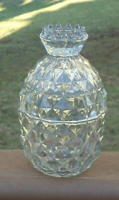 Vintage Antique Rare Fostoria 'American Clear' Glass Pineapple Candy Dish & Lid