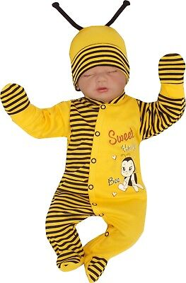 4 Tlg Set Baby Starterset First Outfit Romper 50 56 62 100% Cotton Bees