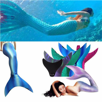 Women Kid Girl Mermaid Tail Monofin Swimming Costumes Swimmable Flippers Cosplay