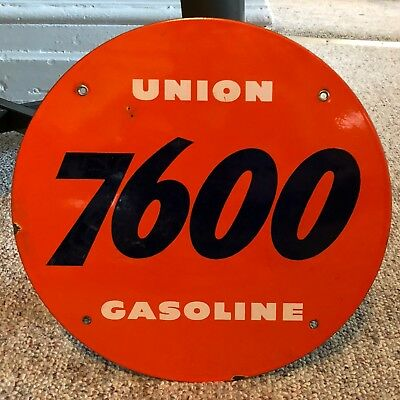 Vintage Original Union 76 Gasoline Porcelain Gas Pump Plate Sign