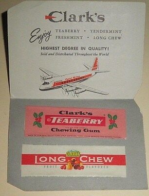Collectibles,Advertising,Vintage,Clark's Gum,Wrappers,2,Long Chew Fruit,Teaberry