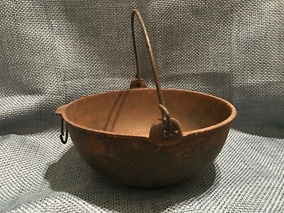 Antique Vintage Cast Iron Pot #2 with Wire Handle Fair Condition Signed