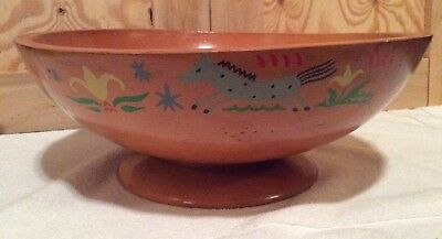 Vintage Munising Wooden Pedestal Bowl Hand Painted Primitive