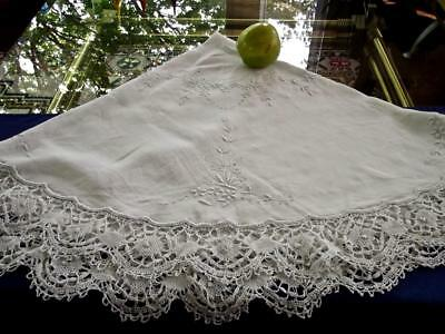 "Antique Chic Hearts Butterflies Cluny Lace 48""Rnd Linen Tablecloth Bridal Topper"