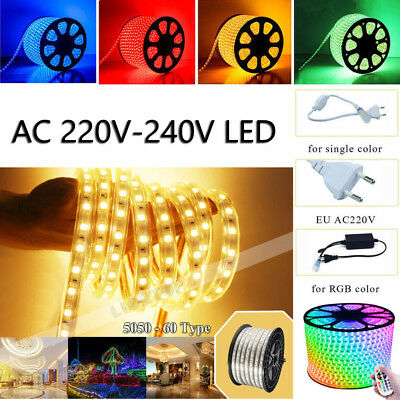 1-15M Waterproof RGB LED Strip Light SMD 5050 Colour Changing 220V Rope string