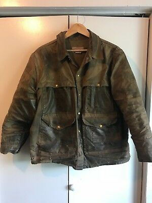 MENS VINTAGE DISTRESSED FILSON BROWN WAXED TIN CLOTH OUTDOOR JACKET Large