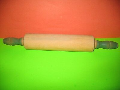 Vintage Green Munising Wooden Handle Kitchen Rolling Pin 17 INCH